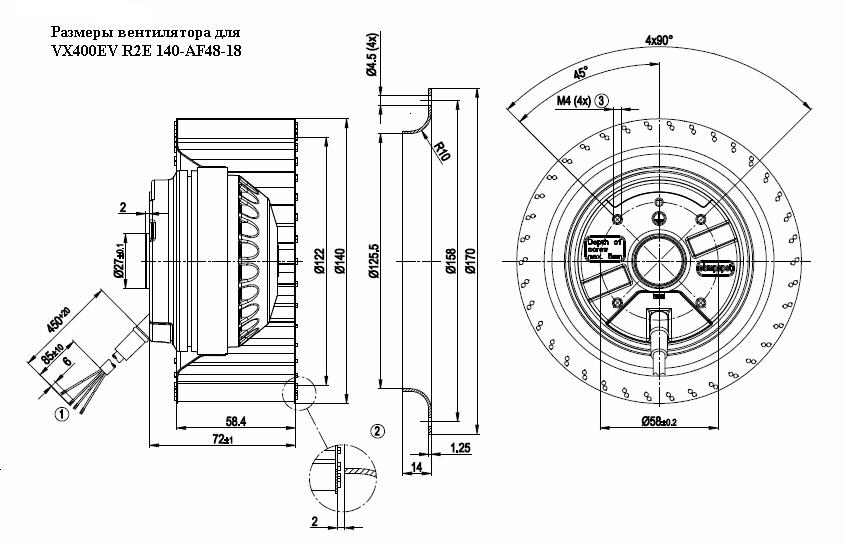 Размеры  вентилятора VX400EV R2E 140-AF48-18